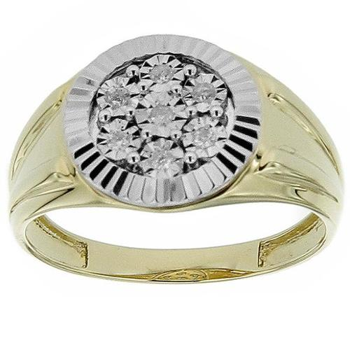KC Jewelry 10k Yellow Gold Men's 1/10ct TDW Diamond Ring (G-H, SI1-SI2)