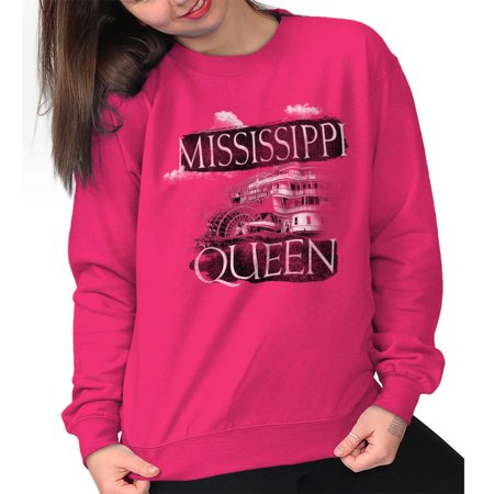 Brisco Brands Mississippi Queen Riverboat MS Womens Crewneck Sweatshirt - Mississippi Queen Riverboat