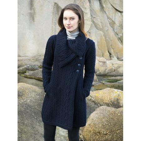 Irish Merino Wool Chunky Collar Buttoned Aran Coat ()