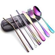 Portable Stainless Steel Flatware Set, Travel Camping Cutlery Set, Portable Utensil Travel Silverware Dinnerware Set with a Waterproof Case (8-pieces flatware set rainbow)