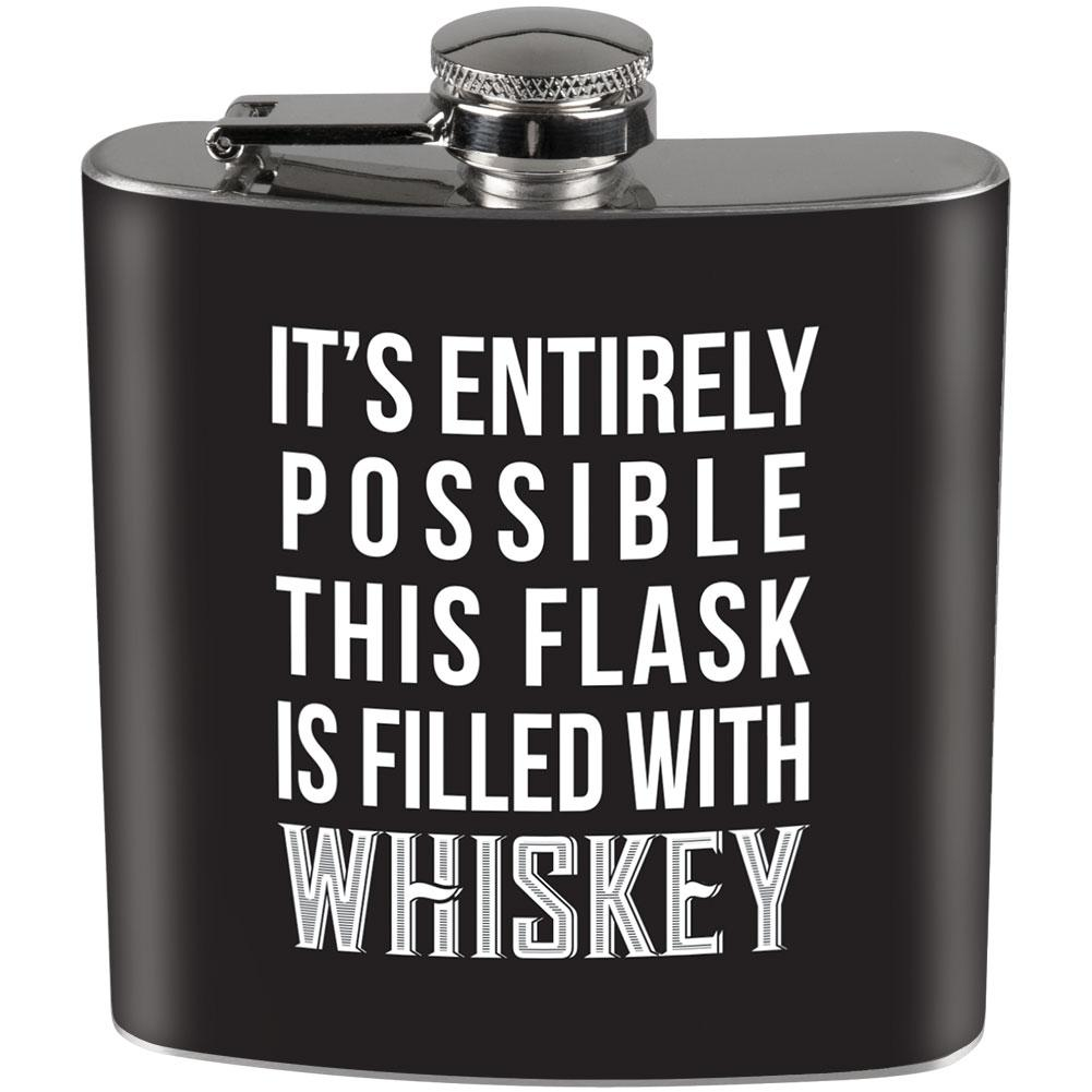 This Flask is Filled with Whiskey Full Wrap Steel Flask Black