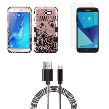 Samsung Galaxy J7 Sky Pro 4G LTE - Bundle: TUFF Series [Military Grade - MIL-STD 810G-516.6] Case (Lace Flower), Glass Screen Protector, Metal [Aluminum Connectors] USB Cable, Atom Cloth
