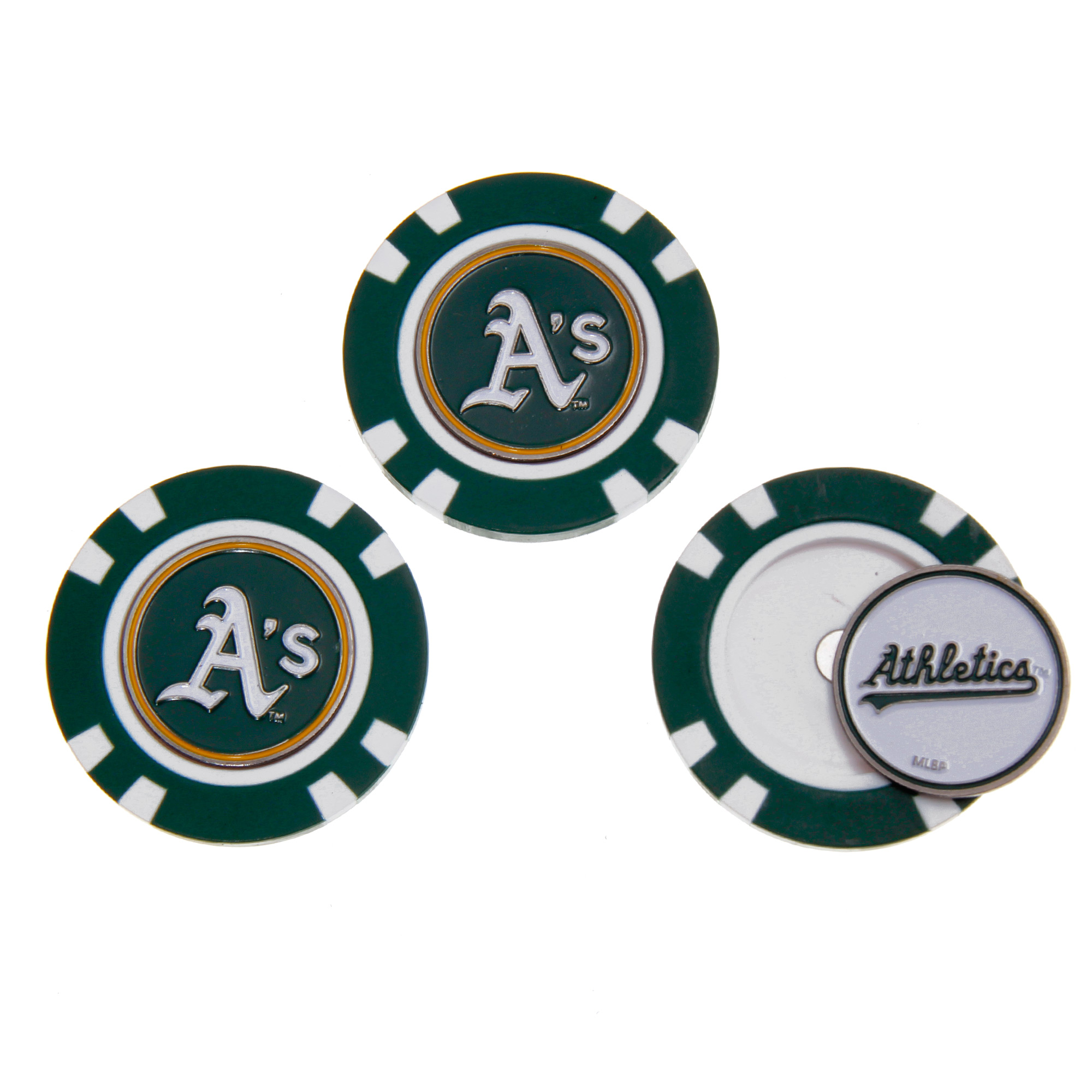 Oakland Athletics 3-Pack Poker Chip Golf Ball Markers - No Size