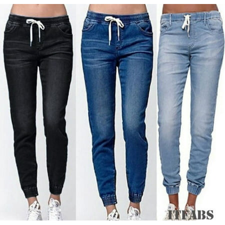 Women High Waist Ripped Stretchy Skinny Jeans Denim Pants Lady Jeggings