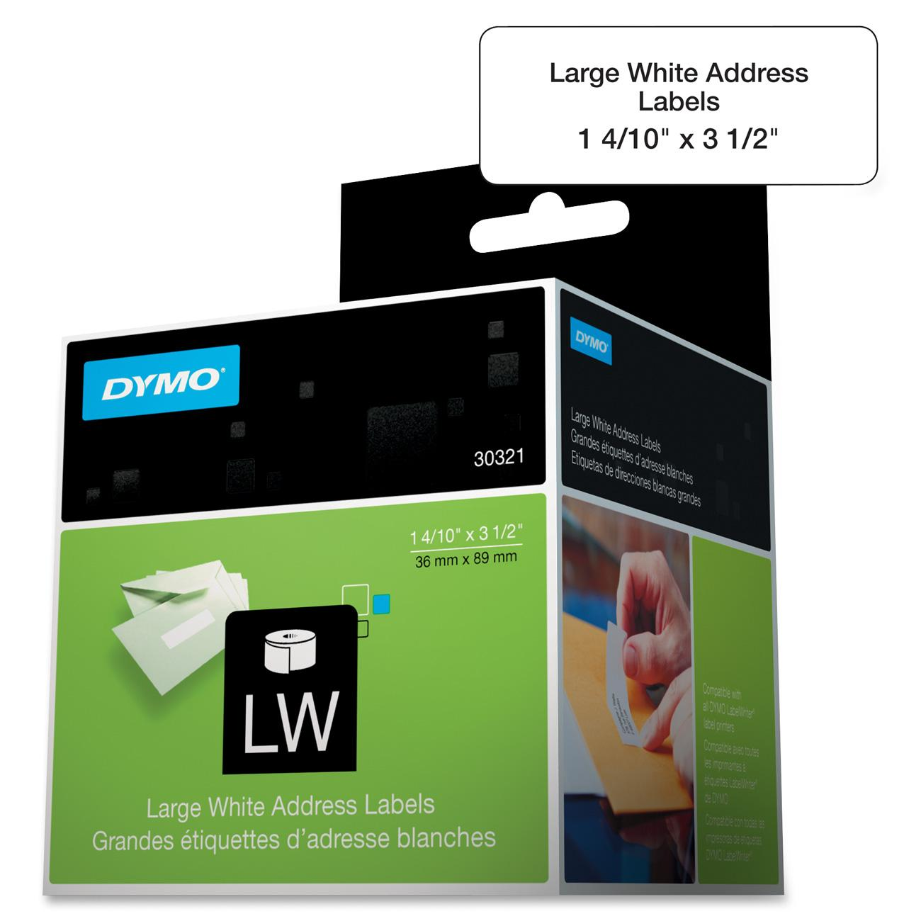DYMO LW Large Mailing Address Labels for LabelWriter Label Printers, White, 1-4/10'' x 3-1/2'', Large, 2 rolls of 260