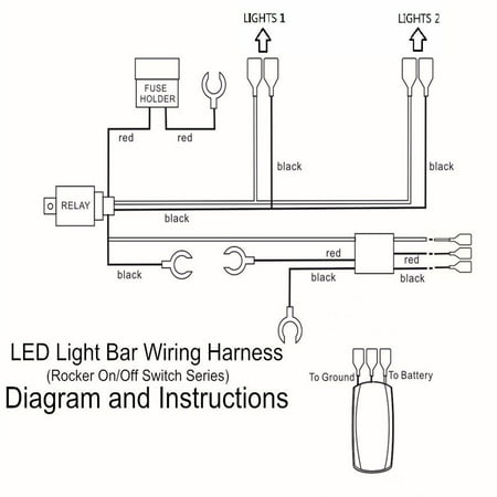 12v 40a 300w Relay Fuse Wiring Harness For 5 Pin Led Light Rocker Switch Us Walmart Canada