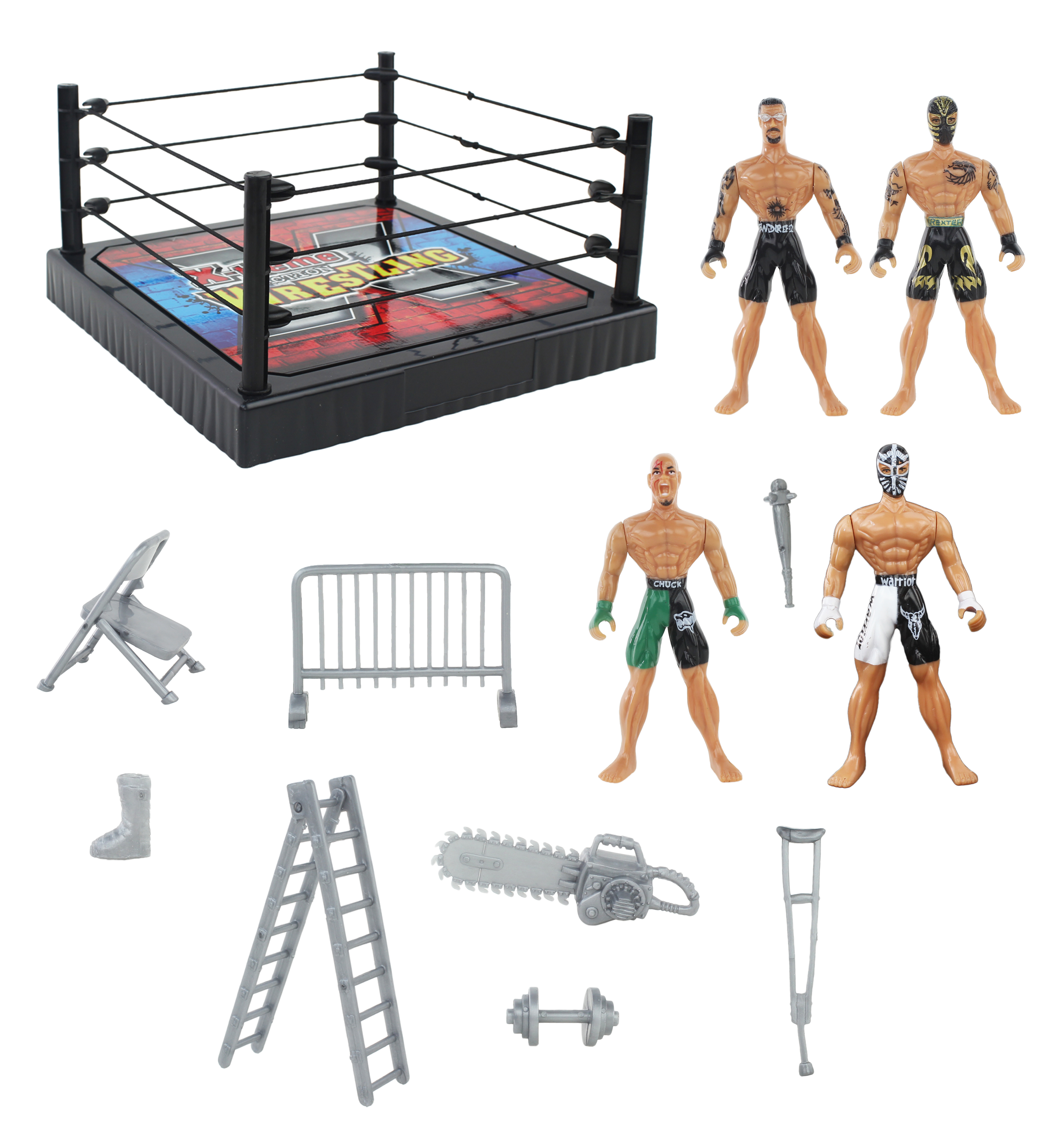 Action Figure Wrestling Ring Playset with Accessories, Wrestler Toys for Kids, Children, 4... by Vwlocit Toys
