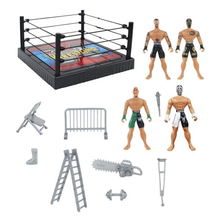 Action Figure Wrestling Ring Playset with Accessories, Wrestler Toys for Kids, Children, 4 Figures Included