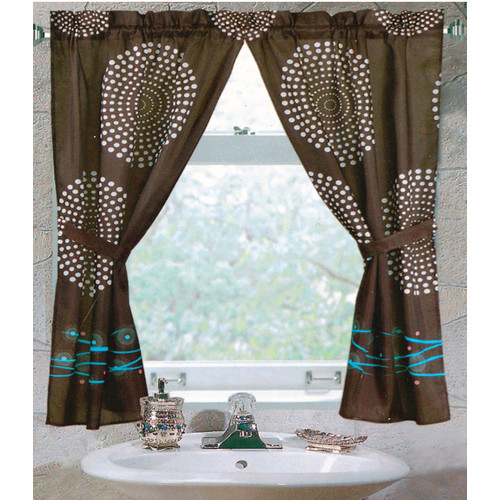 """Hanover"" 100% polyester fabric window curtain with two tie backs, size 54""x34"" """