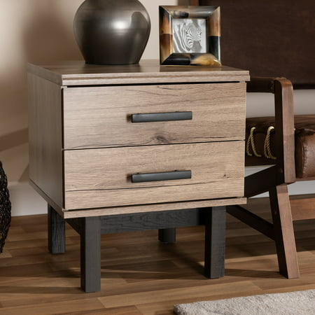 Baxton Studio Arend Modern and Contemporary Two-Tone Oak Brown and Ebony Wood 2-Drawer End Table