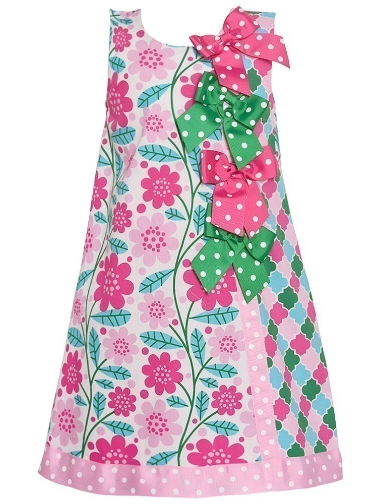 Bonnie Jean Baby Girls Pink Floral Quatrefoil Bow Accented Dress