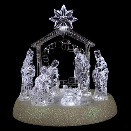 Northlight Icy Crystal Pre-Lit LED Lighted Holy Family Christmas Nativity - Christmas Nativity