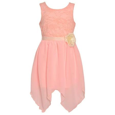 Mini Moca Big Girls Blush Lace Hanky Hem Flower Adorned Easter Dress - Girls Handkerchief