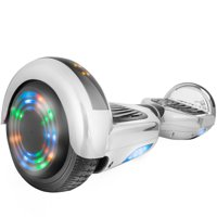 """Hoverboard UL2272 Certified 6.5"""" Flash Wheel Bluetooth Speaker with LED Light Self Balancing Wheel Electric Scooter - Chrome Silver"""