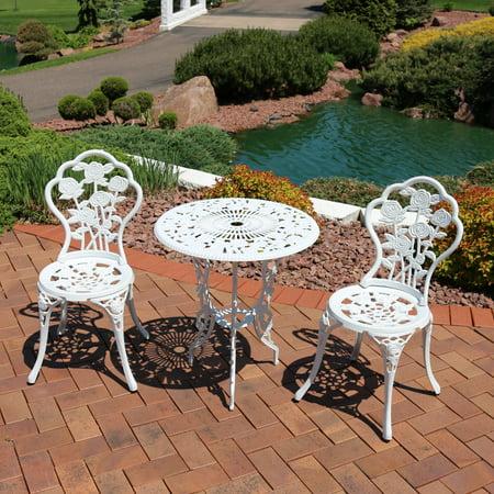 Sunnydaze White Flower Cast Aluminum 3-Piece Outdoor Bistro
