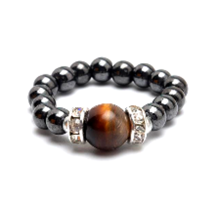Tiger Eye Hematite Magnetic Ring Quartz Tigers Eye Ring