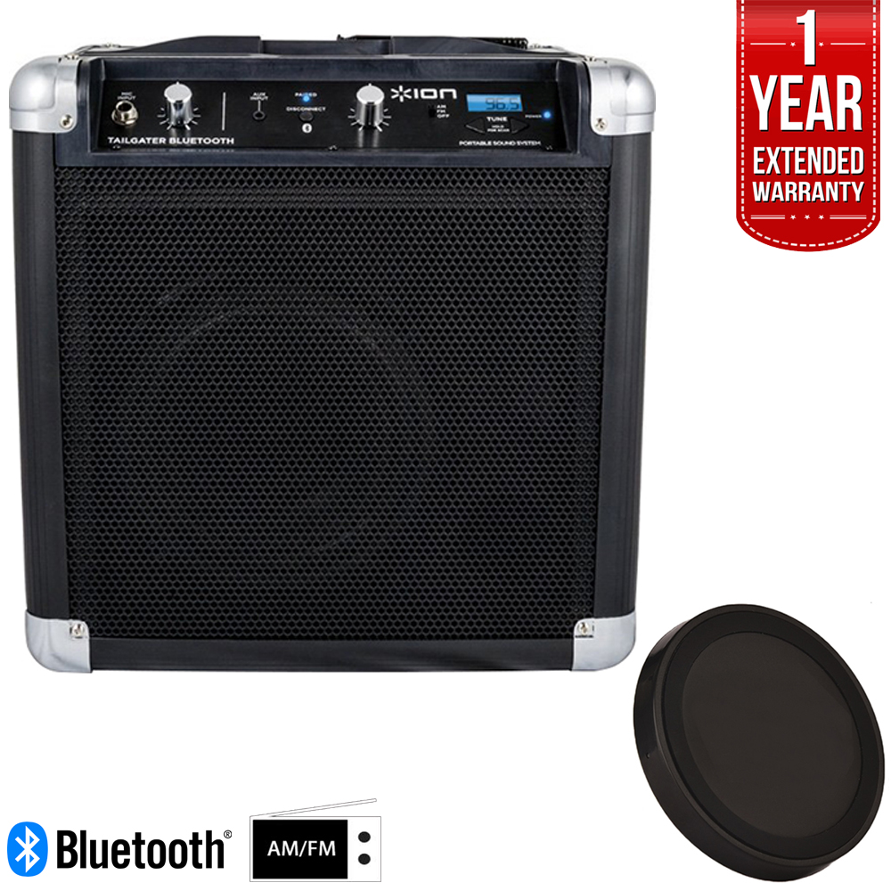 Ion Audio (IPA57) Tailgater Bluetooth Compact Speaker System with Microphone Factory Refurbished Deluxe Bundle w/ Wireless Phone Charger + 1 Year Extended Warranty