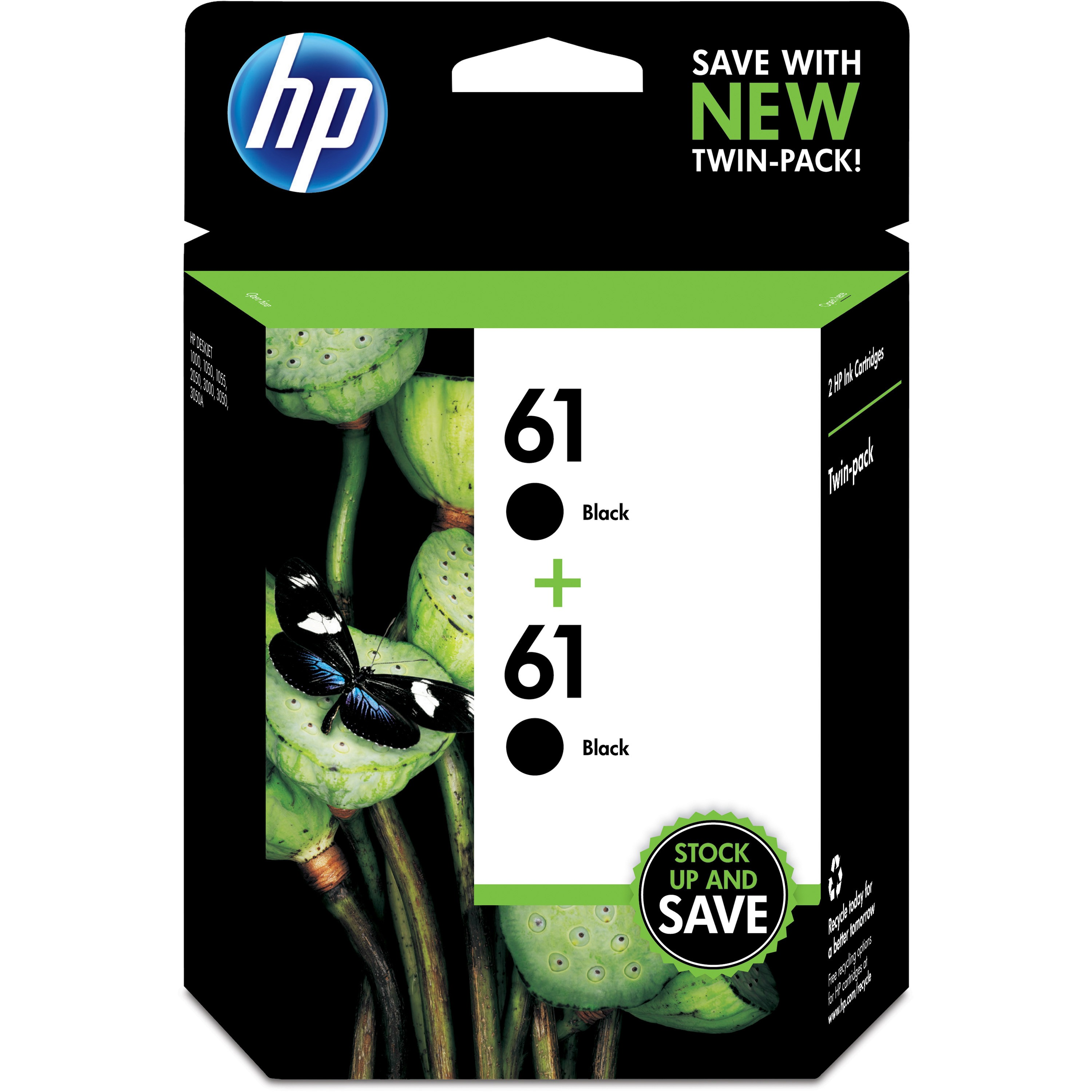 HP 61 Black ink cartridges, 2-pack (CZ073FN)