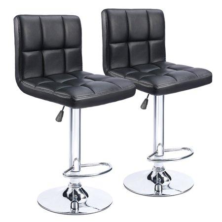 Walnew Set of 2 Adjustable Swivel Armless Bar Stools with PU Leather,Black