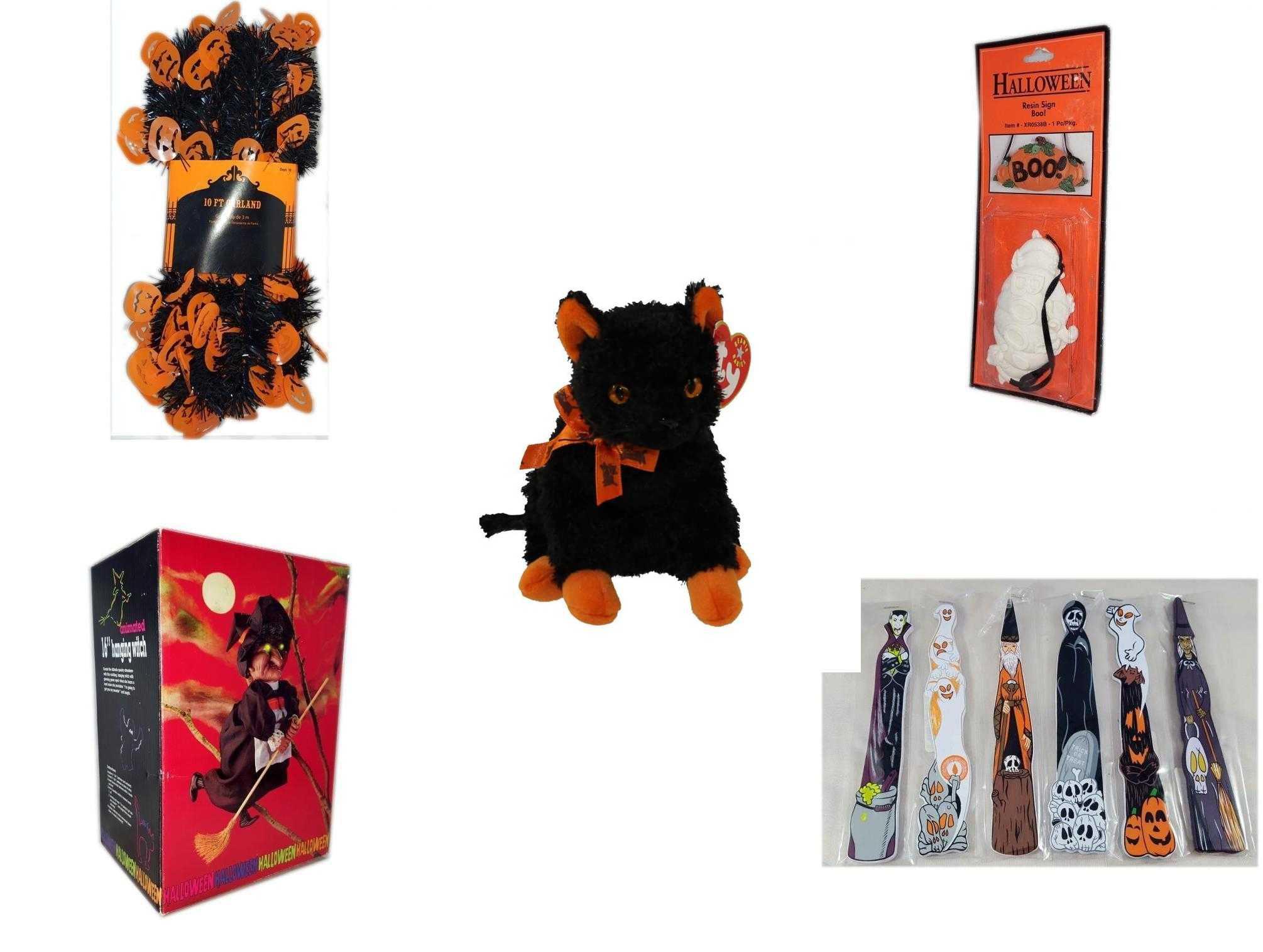 Halloween Fun Gift Bundle 5 Piece Black Orange Pumpkin Garland 10 Ft Resin Boo Sign Ty Beanie Baby Fraidy The Black Orange Cat Animated 16 Hanging Witch