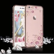 """Njjex Cases For 5.5"""" Apple iPhone 6 Plus / iPhone 6s Plus, Glitter Crystal Plating Butterfly Floral Luxury Bling Diamond Rhinestone Clear TPU Case for iPhone 6 Plus/6S Plus 5.5"""", Rose Gold Flower"""