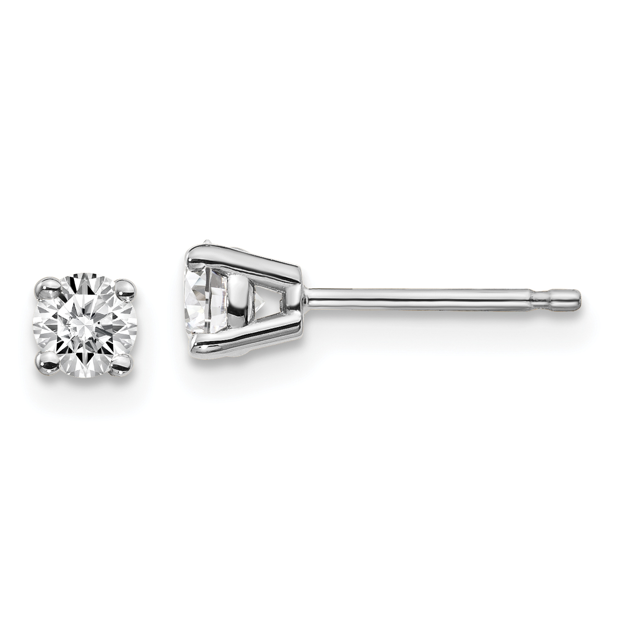 14k White Gold 1/3ctw Certified Vs/si Def Lab Grown Diamond 4 Prong Post Stud Earrings Fine Jewelry Gifts For Women For Her - image 2 of 2