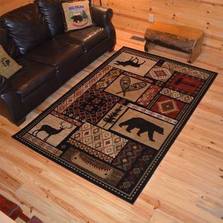 Rustic Lodge Deer - Rug Empire Rustic Lodge Bear Moose Deer Cabin Multi Black Area Rug - 7'10 x 9'10