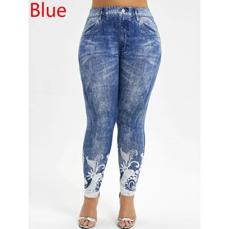 High Waist Plus Size Women Print Denim Leggings Pants