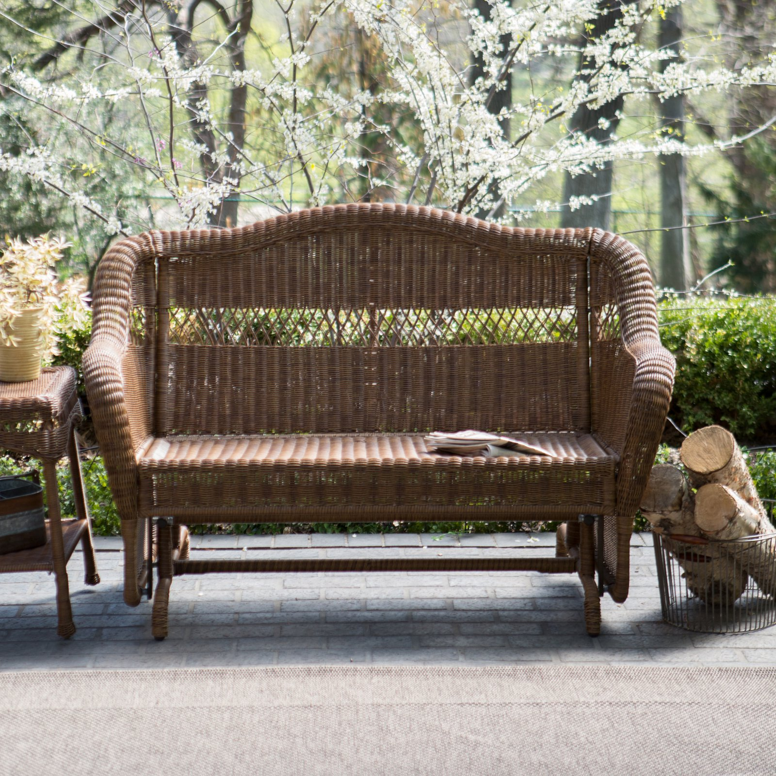 Coral Coast Casco Bay Resin Wicker Outdoor Glider Chair with Optional Cushion by