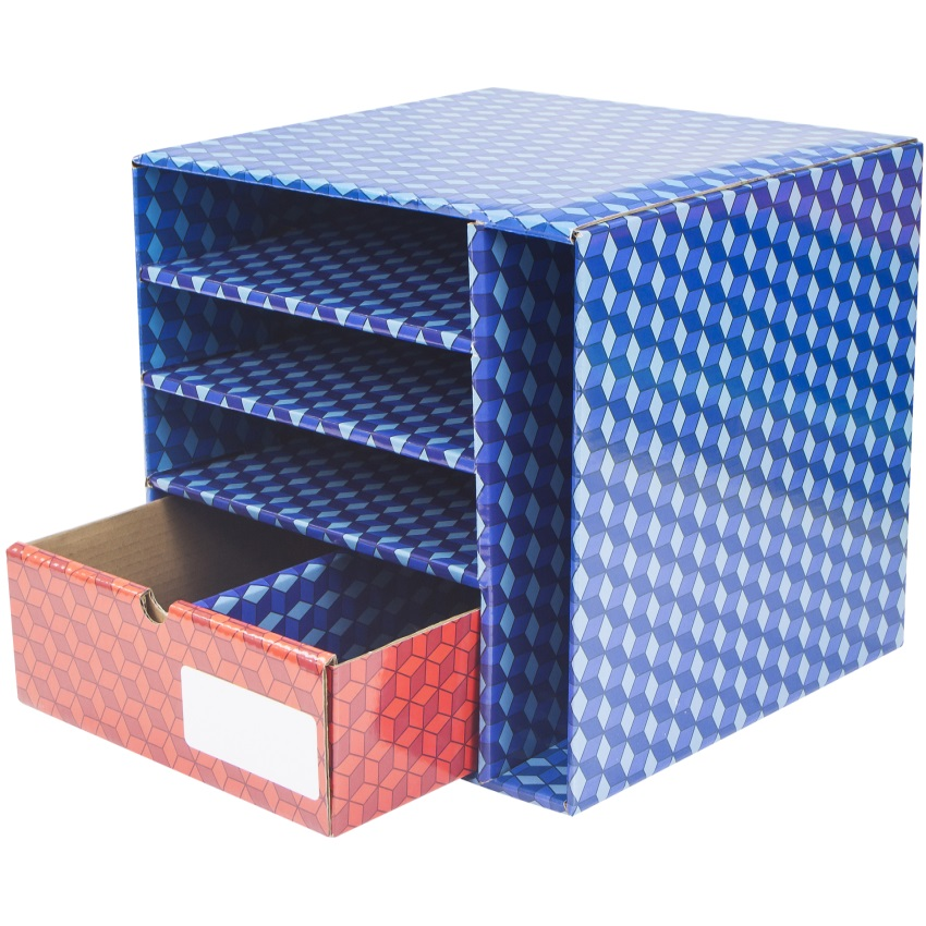 Laminated Corrugated supply station with Drawer - image 2 of 2