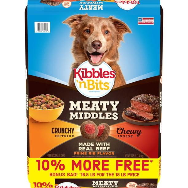 Kibbles 'n Bits Meaty Middles Prime Rib Flavor, Dry Dog Food, 16.5 lb.