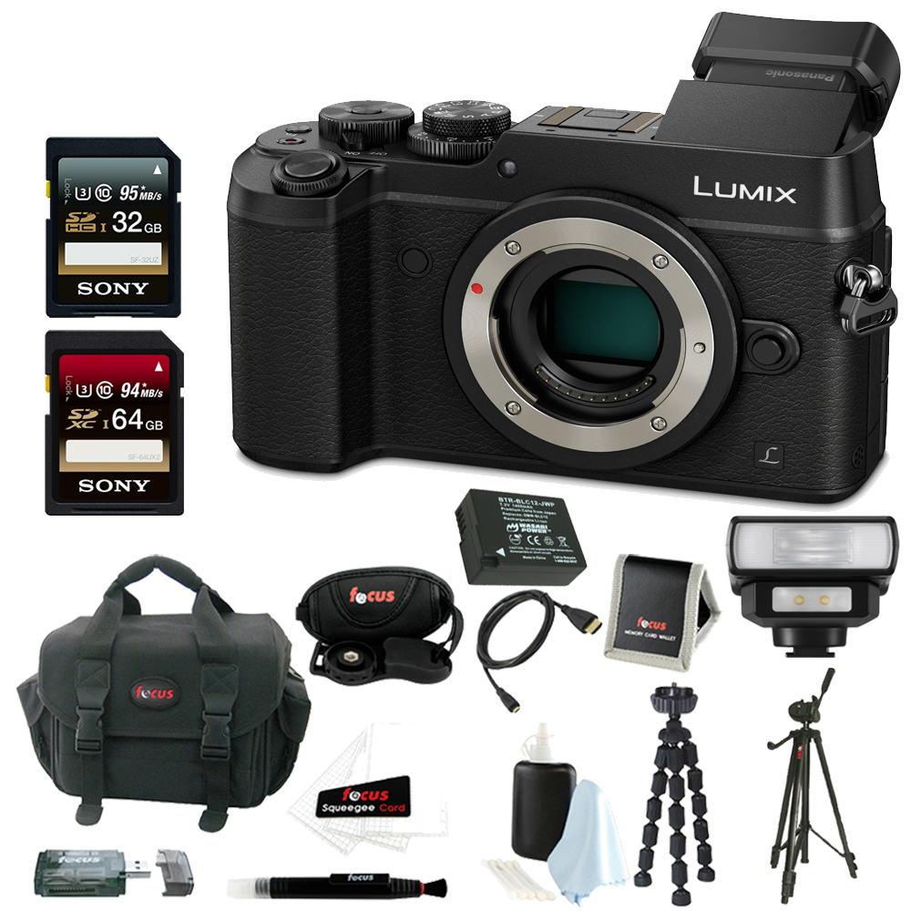 Panasonic Lumix DMC-GX8 Mirrorless Micro Four Thirds Digital Camera (Body Only, Black) w/ Accessory Bundle (Black)