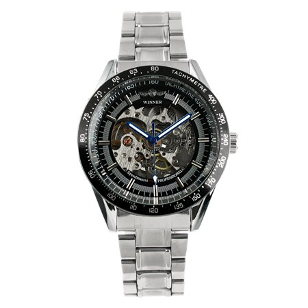 Black Dial Automatic Mechanical Mens Watch Stainless Steel Case Skeleton