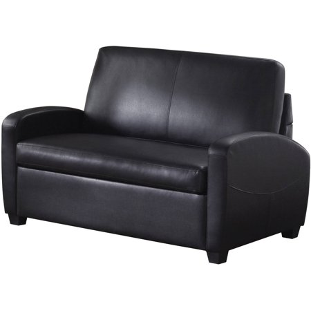 Mainstays 54 Faux Leather Loveseat Sleeper Black