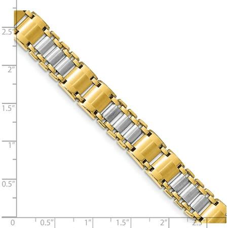 Leslie's 14K Two-tone Polished & Brushed Fancy Link Men's Bracelet - image 2 of 3
