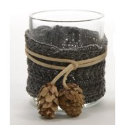 "3.25"" Winter Light Black Fabric Wrapped Glass Votive Candle Holder Christmas Decoration"