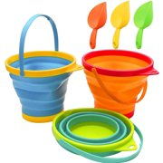 IGUOHAO Collapsible Buckets,Sand Buckets and Sand Shovels Set,Foldable Pail Bucket Multi Purpose for Beach, Camping Gear Water and Food Jug, Dog Bowls--2.5 L(3 PCS)