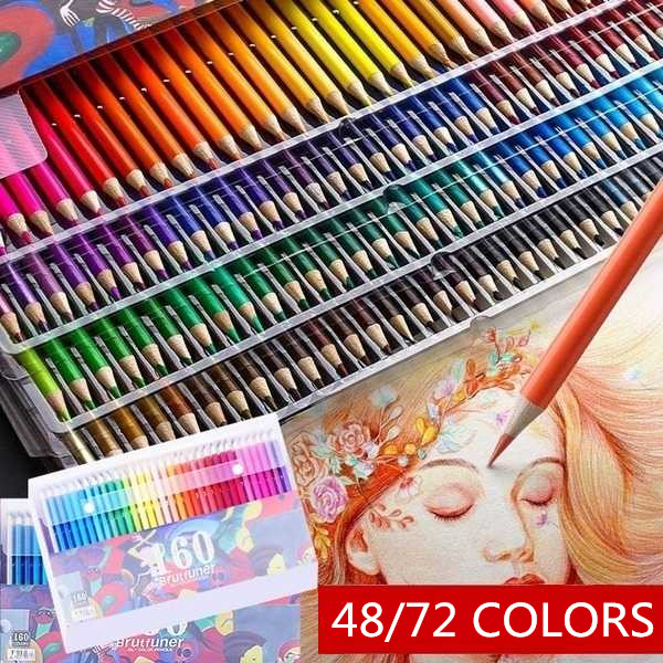 48 48//72 Colors Premium Art Watercolors Colored Pencils Set for Sketch Artists with Roll-up Canvas Pencil Case