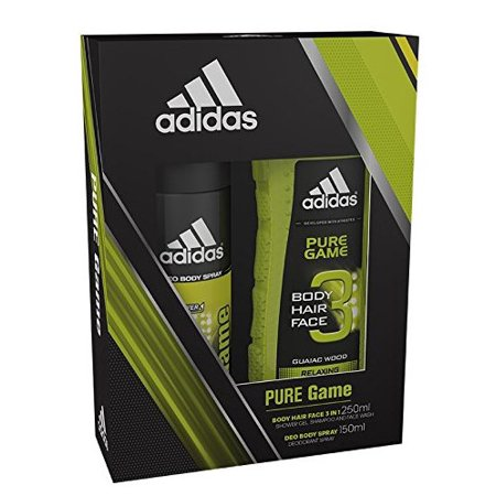 Adidas Pure Game 2 Piece Gift Set, 3 in 1 Shower Gel, Shampoo and Face Wash, AND Deo Body Spray ()