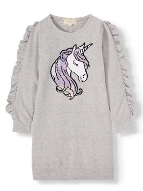 Btween Unicorn Flip Sequin Cozy Sweater Knit Dress (Big Girls)