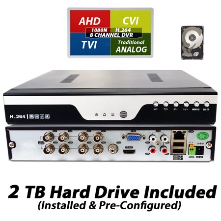 Evertech 8Ch DVR with 2TB HDD H.264 High-Definition TVI AHD CVI Analog Home Office Standalone CCTV Security Digital Video Recorder with 2TB HDD Installed and Pre-Configured