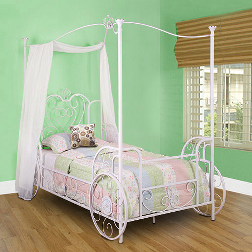 Carriage Twin Metal Canopy Bed, Antique White