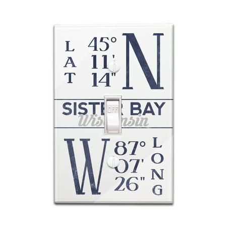 Longitude Three Light - Sister Bay, Wisconsin - Latitude & Longitude - Lantern Press Artwork (Light Switchplate Cover)