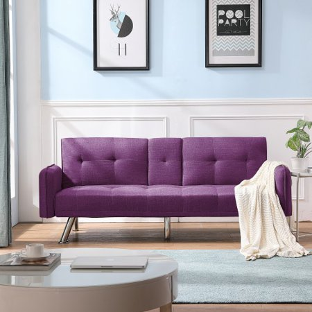 Futon Sofa Bed, Modern Convertible Couch Sleeper Sofa with Armrest and Metal Legs, Twin Size Folding Recliner Sofa Bed Home Furniture for Living Room with 2 Cup Holders Linen Fabric,(purple)
