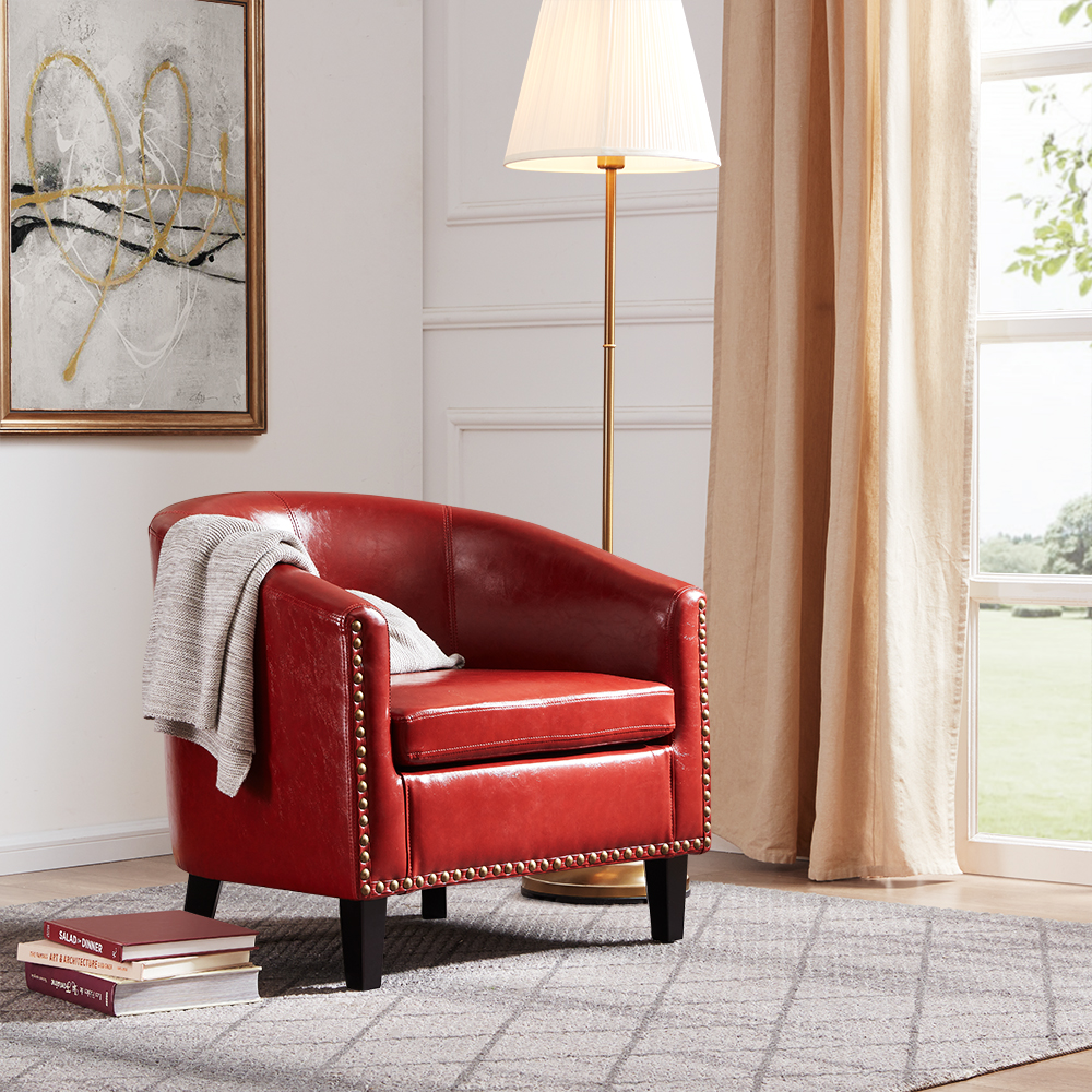 Faux Leather Accent Chair With Nailbead: BELLEZE Modern Nailhead Trim Upholstered Tub Barrel Accent