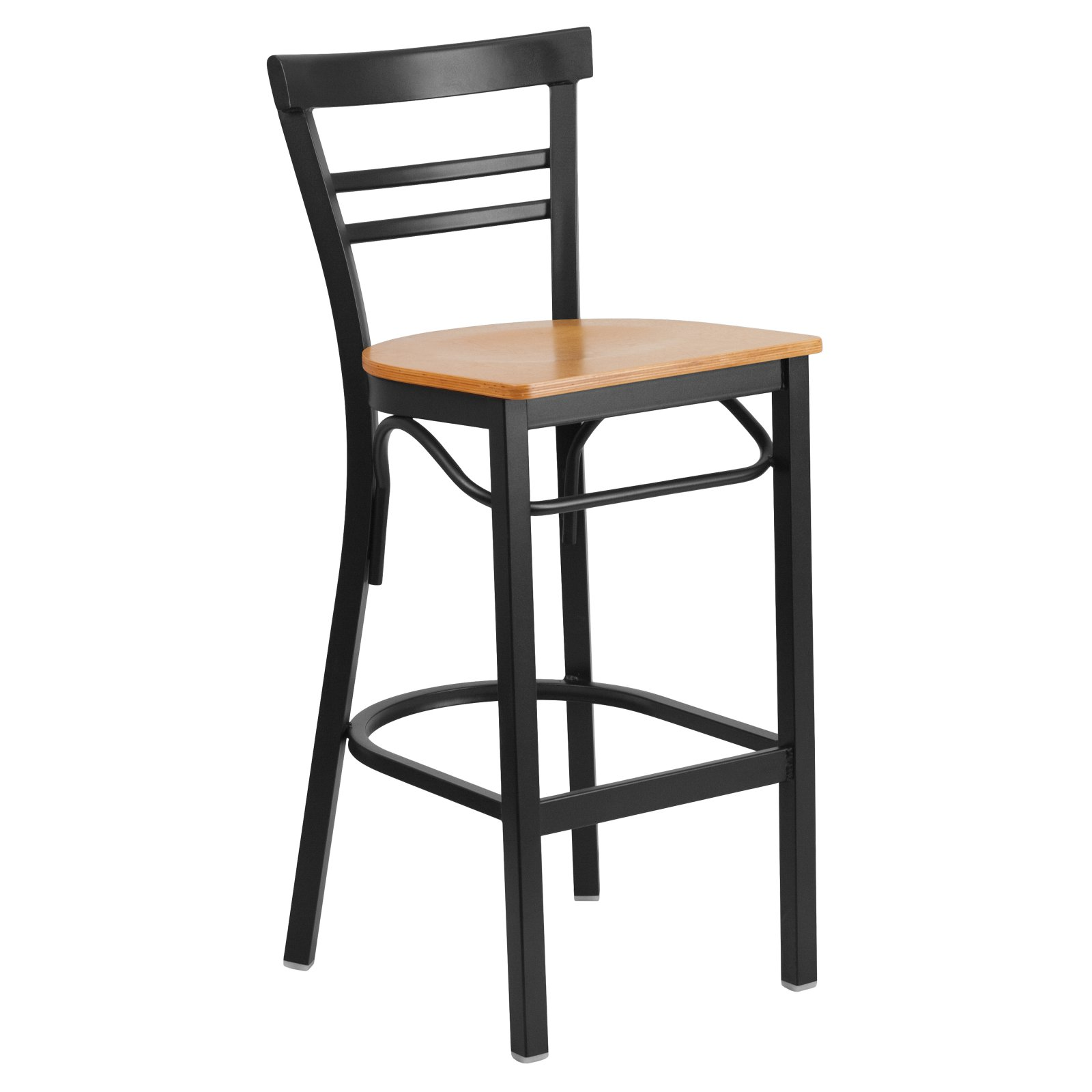 Flash Furniture HERCULES Series Black Ladder Back Metal Restaurant Barstool - Wood Seat Multiple Colors