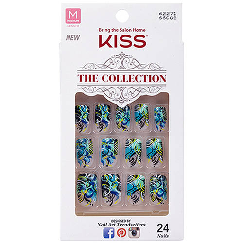 Kiss The Collection Medium Length Nails, Extravagance, 24 Ct