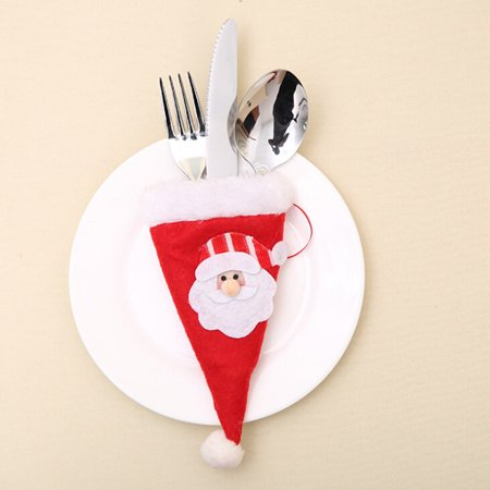 6pcs Christmas Decorative Tableware Fork Set Christmas Hat Storage Tool ()