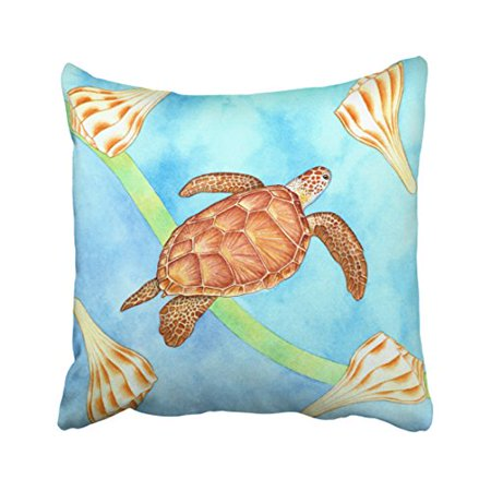 WinHome Cute Popular Hawaiian Green Sea Turtle Watercolor Polyester 18 x 18 Inch Square Throw Pillow Covers With Hidden Zipper Home Sofa Cushion Decorative Pillowcases