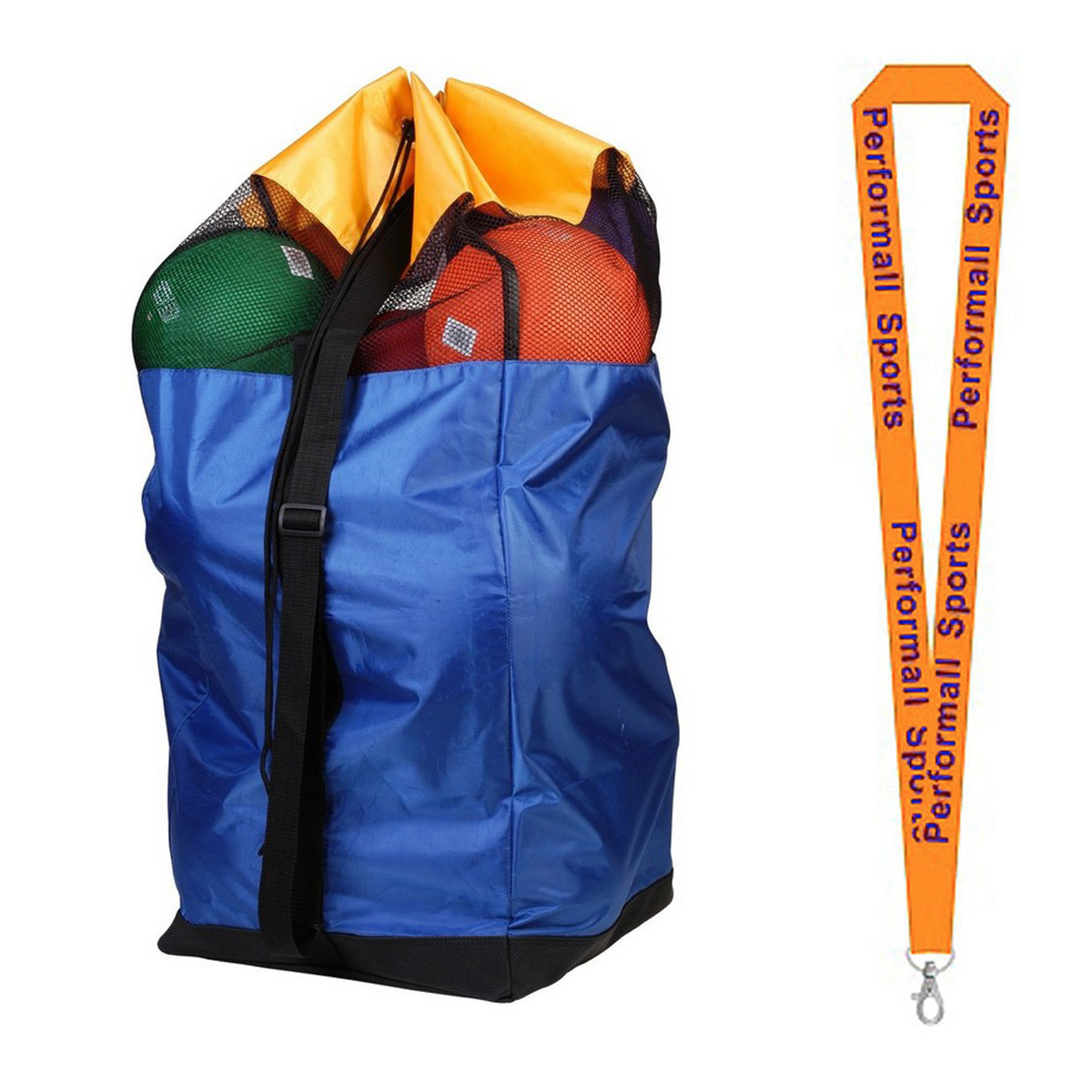Champion Sports Bundle: Basketball Duffle Bag Royal / Black / Yellow   1 Performall Lanyard BK4115-1P